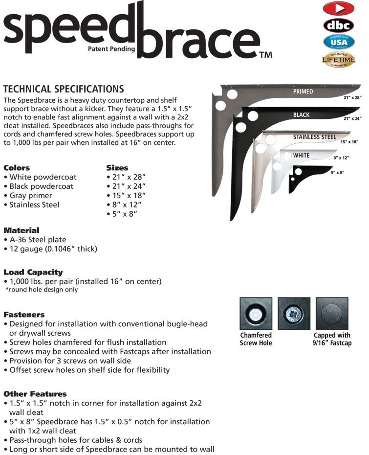 Speedbrace Spec Sheet