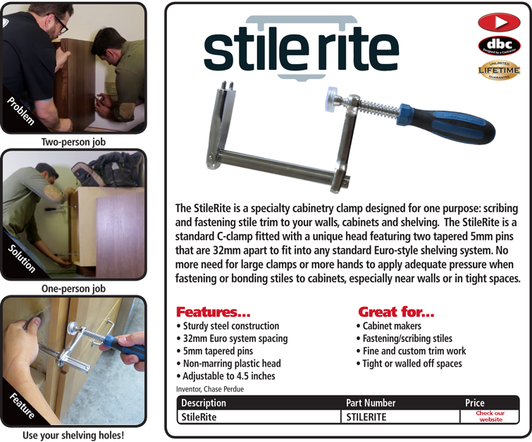 FastCap STILERITE Steel Adjustable Cabinetry Clamp with Non-Marring Plastic Head